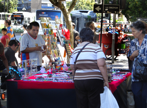 Christmas sales are brisk on the streets of Santiago