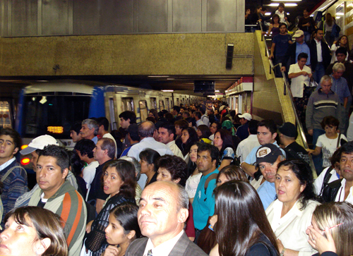 Santiago Metro at rush hour, Escuela Militar Station, April 2009