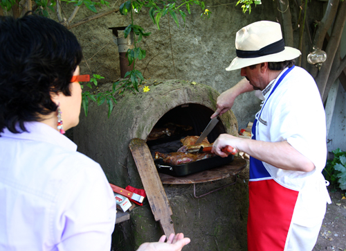 A special treat: slow-cooked lamb roasted in a traditional horno de barro (adobe oven)