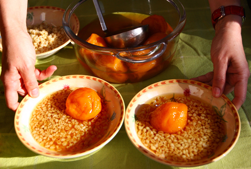 Mote con Huesillo: a traditionally refreshing dessert of wheat and stewed dried peaches in their juice