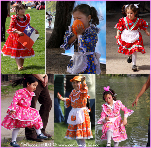 Little girls dress up as huasitas (or chinas) for the Independece Day festivities