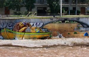 Fisherman illusion, Graffiti on Rio Mapocho, Santiago de Chile