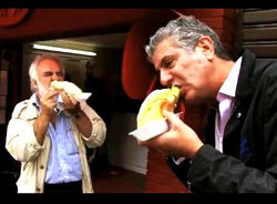 "Anthony Bourdain & Completo during ""No Reservations"" in Chile"