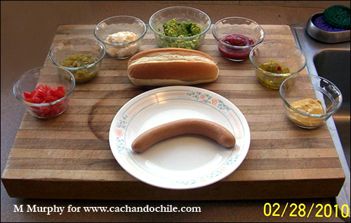 Chilean Completo hot dog ingredients