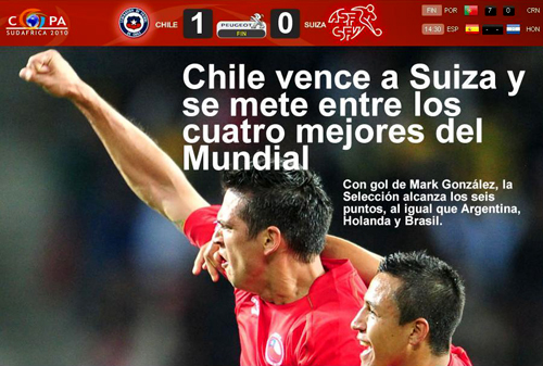 Chile 1, Suiza 9, Copa Mundial 2010 (Photo La Tercera, 21 de junio de 2010)