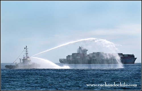 Chile's Bicentennial Naval Review- Fire fighting ship