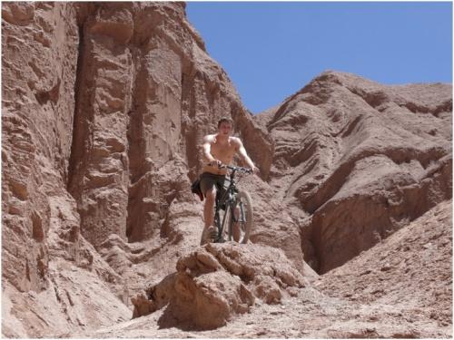Kathleen Skoczen, Jan 2011. Alex biking in Atacama