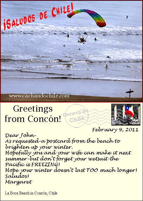 Postcard, Concón, Chile, M Snook, Cachando Chile