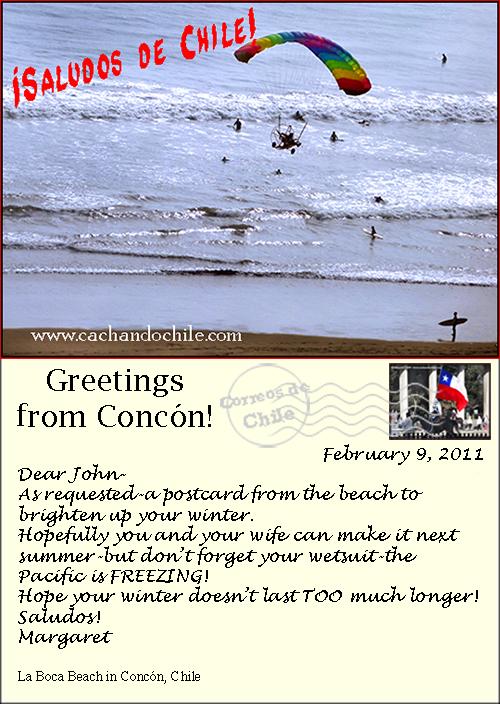 Postcard, Concón, Chile, M Snook, Cachando Chile