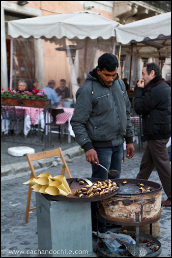 Roasted chestnuts in Plaza Navonna, Rome, Italy