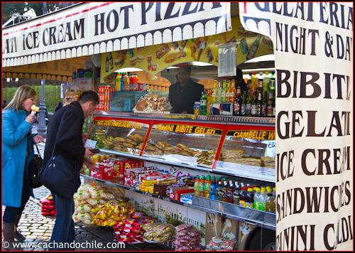 Comida callejera en Roma, Italia