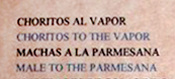 Bad Translation Fun Menu: Choritos to the Vapor, Chile