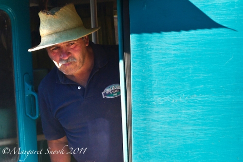 Man on train, Ramal del Maule, Chile