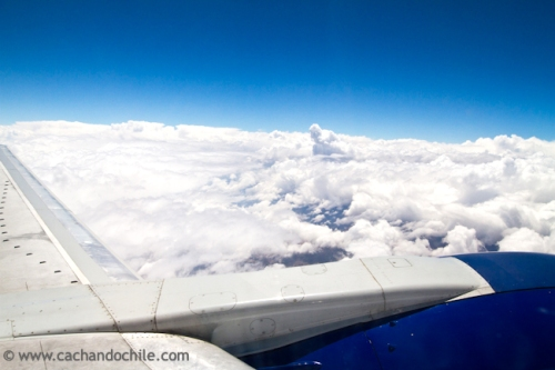 Sky view from plane window over South America